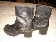 "Harley-Davidson Cycle Black Leather Boots - Women's Boot US Size 6 ~ 2 1/2"" Heel"
