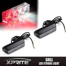 2x White Red 4 LED Emergency Hazard Vehicle Flash Strobe Lights Deck Dash Grill
