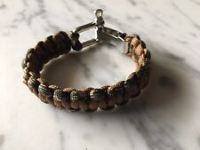 Camo Paracord Bracelet Cobra weave with Stainless a adjustable Steel Shackle.