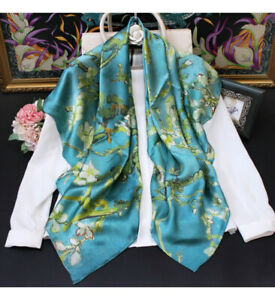 """WOMEN 100%MULBERRY SILK 41""""SQUARE SCARF SHAWL FLORAL PRINT #110310 HAND ROLLED"""