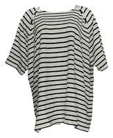 Denim & Co. Women's Plus Sz Top 3X Elbow-Sleeve Terry Striped White A305054