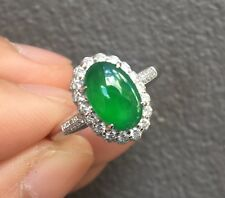 Natural Certified Grade A Jade Icy Imperial Emerald Green Jadeite Diamond Ring