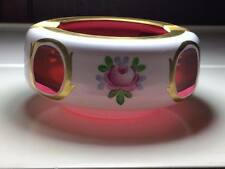 Czechoslovakian cut to cranberry glass ashtray
