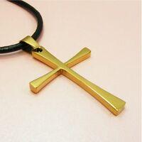 316L STANINLESS STEEL Slim Cross PENDANT ~BONUS Leather Cord or Chain NECKLACE~