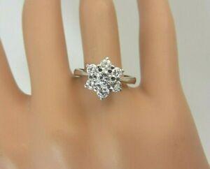 Vintage Platinum and 1.00 carat 7 Diamond Cluster Ring