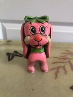 Vintage Pink Puppy Paper Mache Bank Japan 60s Decor