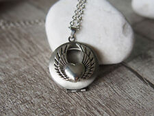 Eagle Wing Heart Silver Tone Round Picture Locket Pendant Necklace