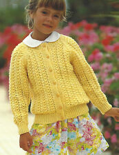 "Girls Cardigan Knitting Pattern 20-30"" Double Knitting 415"