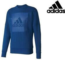 Mens Adidas Crew Sweatshirt Logo Sports Sweater Jumper Climalite Casual Pullover