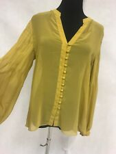 Anthropologie Ark & Co green DETAIL SHEAR tunic Blouse Top Size Medium