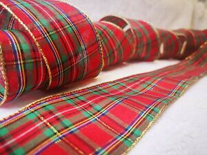1 metre Luxury Ribbon GoldCheckered Plaid Red Green Wire Edged Craft 63mm