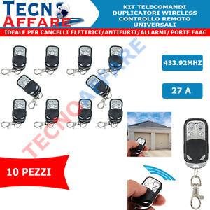 KIT 10 Telecomandi Duplicatori Wireless Controllo Remoto Universali 433.92MHZ