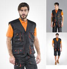 Gilet da lavoro multi tasche nero/arancio  cotone poliestere  smartphone  SC