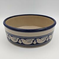 Large HANDMADE Pottery Decorative Serving Bowl, Blue Band with Birds, Signed