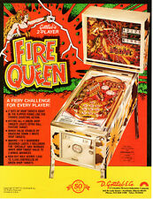 FIRE QUEEN Original PINBALL Flyer GOTTLIEB 2-Player 1977 Promo Brochure Ad Slick