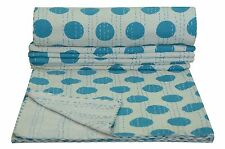 Indian Polka Dot Print Twin Kantha Quilt Bedspread Throw Decor Bedding Blanket