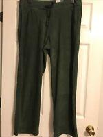 Women's Tek Gear Micro Fleece Pants Green Xlarge Drawstring Pockets NWT