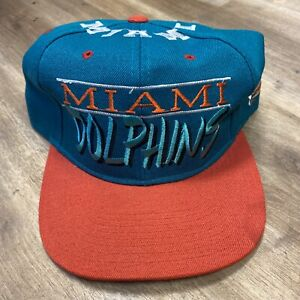 MIAMI DOLPHINS NFL FOOTBALL VINTAGE 90s DREW PEARSON WOOL BLEND SNAPBACK HAT