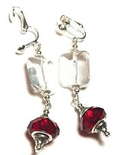Long Drop Dangle Silver Clear & Red Clip On Earrings Glass Beads