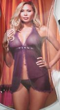 Dreamgirl Sequin And Frill Babydoll Set 7208X Purple One Size Fits All - Queen