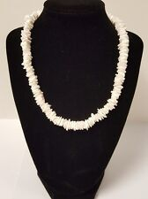 Vintage Unisex White Puka Shell Chip Hawaiian Necklace