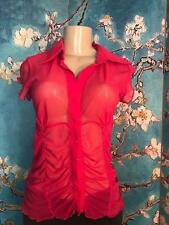 BEBE L FUCSHIA PINK BUTTON DOWN SHEER COLLAR RUCHED HI-LO HEM CAP SLEEVE TOP