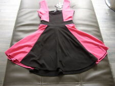 Look Cool BooHoo Black and Hot Pink Skater Dress BNWT Size 10