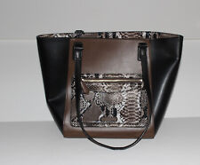 NWT Womens VERA BRADLEY Faux Brown & Black Leather Small Ella Purse
