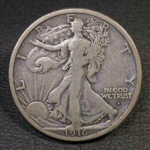 1916 D Walking Liberty Half Dollar VG