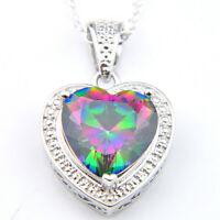 Handmade Rainbow Mystic Fire Topaz Gems Vintage Silver Woman Necklace Pendants