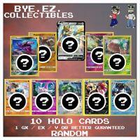 Pokemon Card Lot 10 Holo Pack! 1 GUARANTEED GX! Full Art Hyper Rainbow Rare Gold