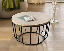 Couchtisch Beistelltisch schwarz Metall Holz rund 50 cm Retro Loft Modern 29 cm