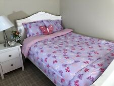 New 6 Pieces Twin Size Kids Girls Bed In A Bag Comforter Set, Lilac Butterflies