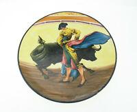 Handbemalter spanischer Wandteller Torero Stier Vintage Souvenier Kitsch Keramik