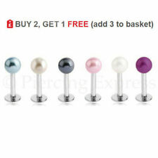 Labret Bar Lip Stud 316 Steel Monroe Helix Tragus Ring Piercing Faux PEARL Ball