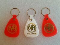 3 NARCOTICS ANONYMOUS KEY Tag Ring chain - NA Clean Sobriety 3 Piece Lot