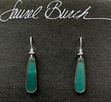 NWT Retired Laurel Burch TAMA Teal Petite Tear Silver Cloisonne Earrings