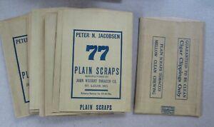 Lot Of 10 Old Vintage 1940's - PETER JACOBSEN - 77 Plain Scraps - TOBACCO BAGS