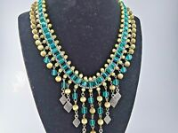 VINTAGE SILVER TONE TURQUOISE BLUE TAN GLASS BEAD STATEMENT BIB NECKLACE RUNWAY