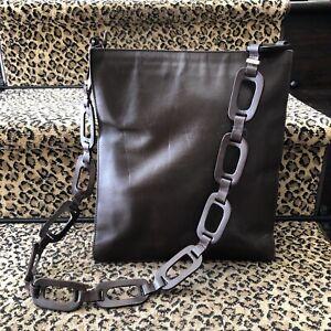 Gucci Tom Ford Era Vintage Brown Leather Hobo Crossbody Bag Leather Link Strap