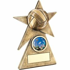 BRZ/GOLD NETBALL STAR ON PYRAMID BASE TROPHY - (1in CENTRE) - 4in