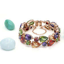 "Hermosa 18k Rose Gold Amethyst Peridot Garnet Morganite Gemstone Bracelet 7"""