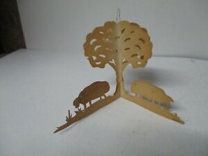 Old Christmas Ornament - Scherenschnitte Multi Dimensional Pigs w Tree