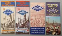 4 Vintage Gray Line Bus Tour Brochures: New Orleans, Seattle, Kansas City