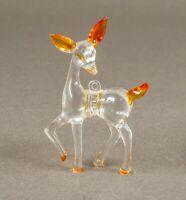 Vintage Lucite Deer Christmas Tree Ornament Doe Animal Figurine Clear Plastic