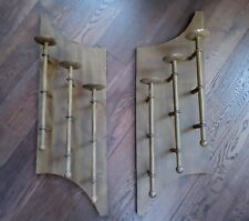 XL Vintage Rustic Matching Pair Treble Candle Steel Wall Sconces 3 ft x 1 ft