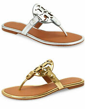 NIB Tory Burch Miller Leather Sandals Mirror Gold Silver Tan US 6 - 9.5 AUTHENTC