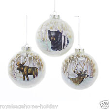 T1405 Woodland Friends Animal 100mm Glass Ball Ornament Hunting Lodge Cabin