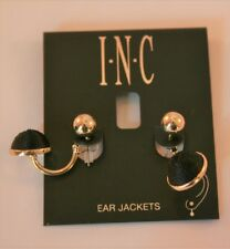International Concepts gold tone black & gold stud ear jacket earrings