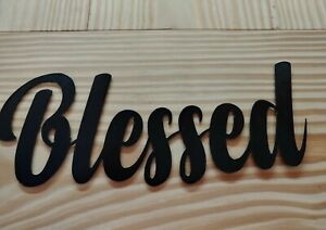 Blessed METAL WORD Black Letter Wall Art BLESSED Metal Sign Home Decor